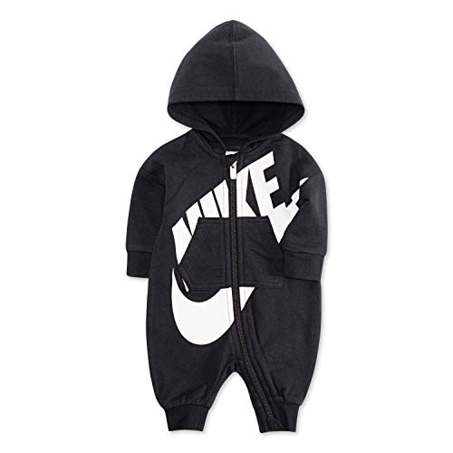 NIKE Children's Apparel Baby Hooded Coverall, Black, 3M