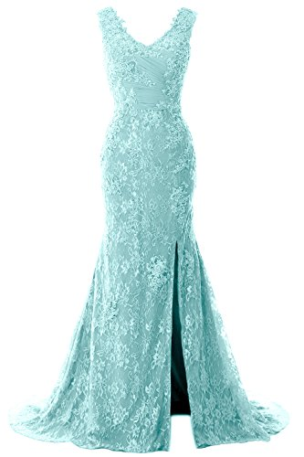 Wedding Women Aqua Dress Gown Straps MACloth Formal Lace Mermaid Neck Party V Evening HdqadEZwc
