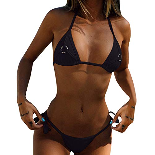 MmNote swimwear for women, Women's Two Piece Simple Strappy Comfortable&Breathable Bikini Set Swimwear Black ()