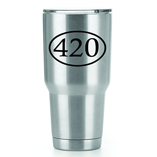 420 Marijuana Vinyl Decals Stickers (2 Pack!!!) | Yeti Tumbler Cup Ozark Trail RTIC Orca | Decals Only! Cup not Included! | 2-3 X 2.6 inch Black Decals | - Trail Oregon Pipe