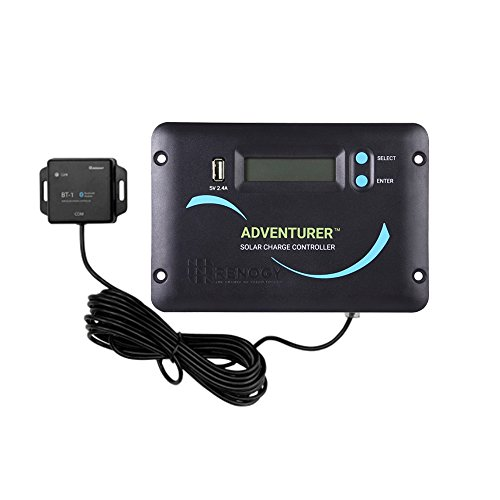 Renogy Adventurer Li 30A Negative-Ground PWM Flush Mount Charge Controller w/LCD Display and Bluetooth Module – Compatible with Lithium, Sealed, Gel, and Flooded Batteries