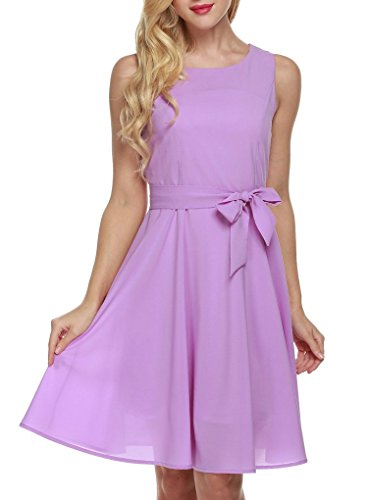 OURS Women's Summer Sleeveless Chiffon Pleated Cocktail Party Dress With Belt (XXL, Purple) (Plus Size Teen)