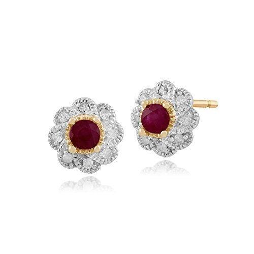 Gemondo Bague Rubis Boucles d'oreilles, boucles d'oreilles en or jaune 9carats 0.28ct Rubis & Diamant Floral
