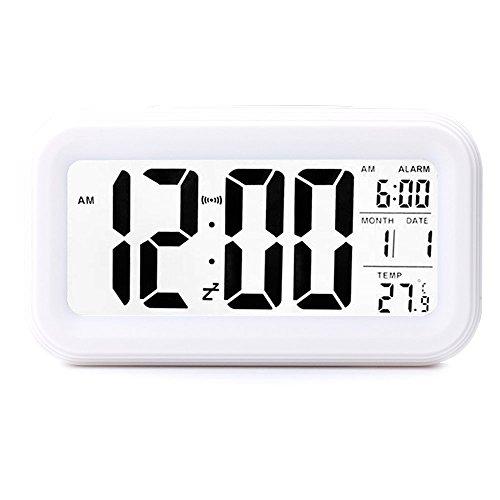 - UNIAI Travel Alarm Clock Upgrade Version Digital Alarm Clock - Electronic Bedside Alarm Clocks Smart Travel Battery Clock Large LCD Calendar Temperature Display