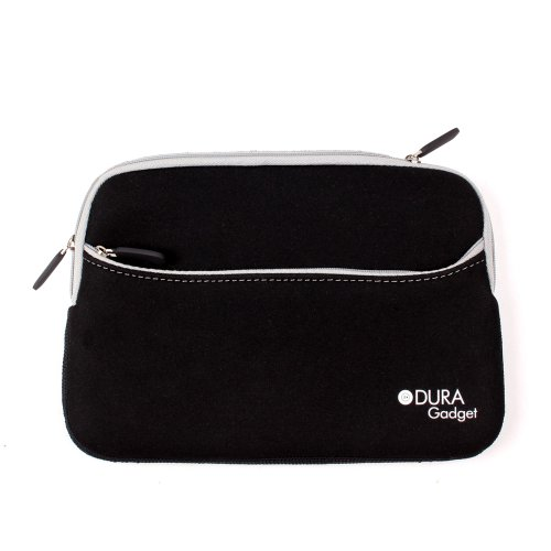 """DURAGADGET Black Stretchy Neoprene Water Resistant Zip Bag For Nextbook 7"""" Tablet NX007HD8G Dual Core with 8GB memory"""