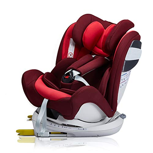 GY Child Safety Car Seat, 360° Rotation, Adjustable Headrest, with Anti-Collision Protection, 0-12 Years Old Two Way Car Seat, 4 Colors, 60-80cm (Color : Red)