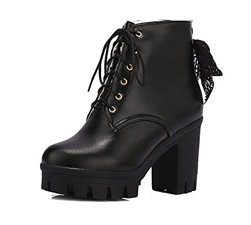 Heels Black Boots up High Low Lace AgooLar Women's Solid PU Top gzwBw8vq
