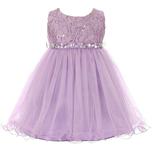 Baby Girls Sleeveless Dress Glitters Sequined Bodice Double Layer Tulle Skirt Rhinestones Sash Flower Girl Dress Lilac - Size S ()
