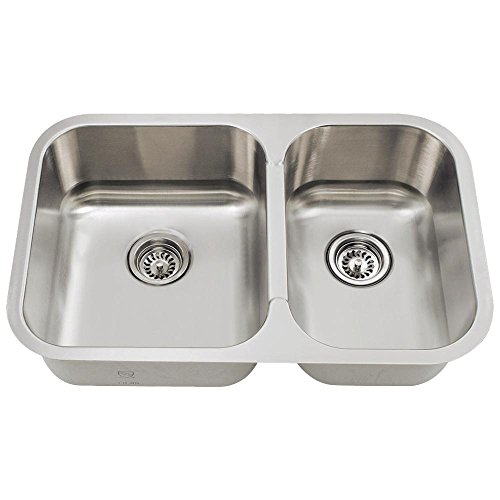 (530L 18-Gauge Undermount Offset Double Bowl Stainless Steel Kitchen Sink)