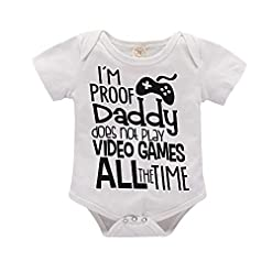 I'm Proof Daddy Does Not Play Video Games All The Time Baby Girls Boys Romper Bodysuit 21