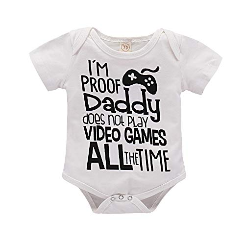 I'm Proof Daddy Does Not Play Video Games All The Time Baby Girls Boys Romper Bodysuit (White, 0-3 Months)