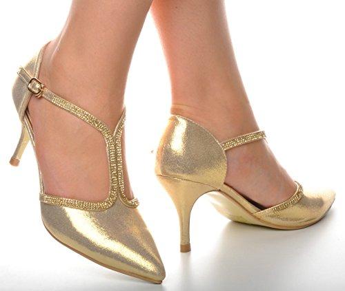T Brillantes Puntiagudo Bar Novia Tacones y Detalle de Oro Zapatos Diamante YEqTddS