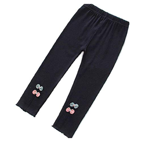 An Ping Girls Fashion Leggings Cute Bow-Knot Print Candy-Colored Pants Leggings Navy Blue