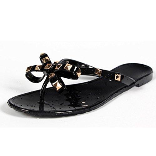 - Women Stud Flat Flip-Flops Rivet Bow Sandal Beach Jelly Slip On Thong Shoe Black