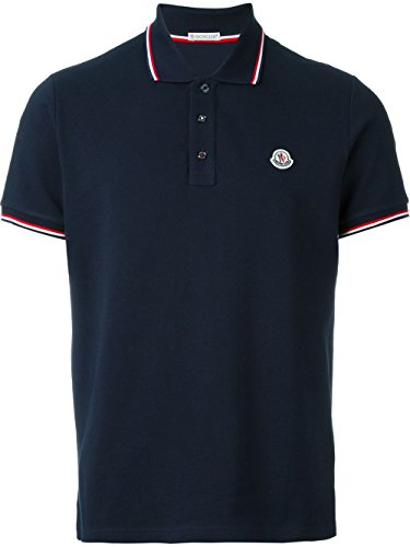 Moncler Men's 834560084556773 Blue Cotton Polo - 14 Moncler