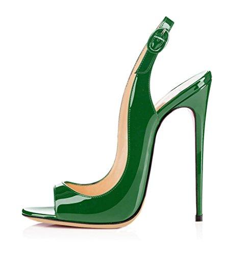 Toe Donna Fibbia Caviglia EDEFS Scarpe Verde a Tacco Sandali Spillo Peep con Slingback Cinturino qEHwxFR