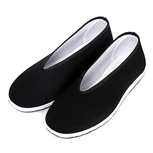 YunPeng, Chinese Traditional Old Beijing Shoes Unisex Martial Art Kung Fu Tai Chi Rubber Sole Shoes Black, Black Y, 45 M EU