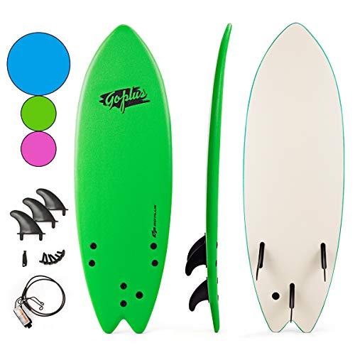 Goplus 5'5 Surfboard, Soft Top Surf Board, Lightweight Bodyboard Surfing Foamie Board with 3 Removable Fins, Adjustable Wrist Rope, Great Beginner Board for Kids and Adults (Green)
