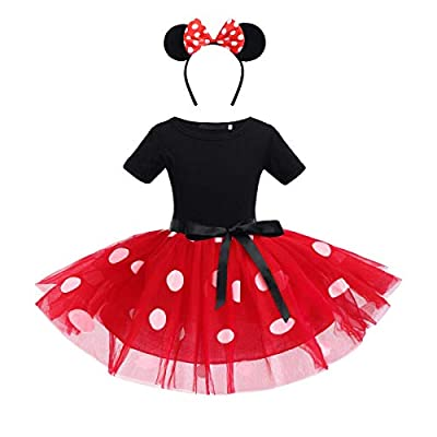 Girls Polka Dots Princess Costume Christmas Birthday Party Dress up with Mouse Ears Headband 2PCS Set for Kids Cosplay: Clothing