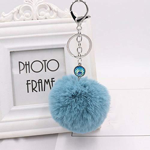 1x Fluffy Plush Faux Rabbit Fur Fish Scales Keychain Mermaid Key Ring Key Buckle (Color - Peacock Blue)