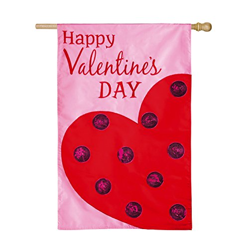 Happy Valentines Day Applique Polka Dot Heart House Flag