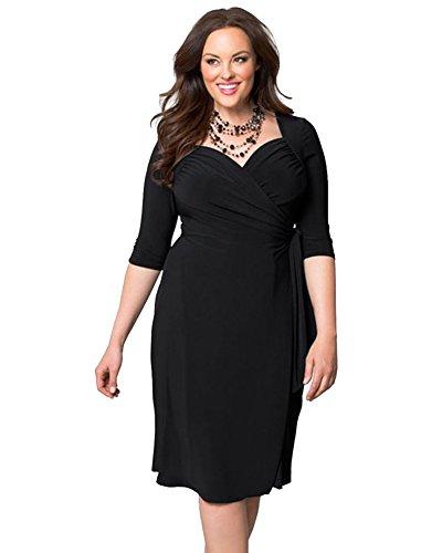 Robes Vrac Loisir Solide Grande lastique Taille Moollyfox Femme Noir Couleur q6w844