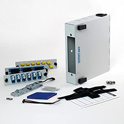 Fiber Optic Patch Panel - DIN Rail or Wall Mount with ST, SC, and LC Single-mode Adapter Plates