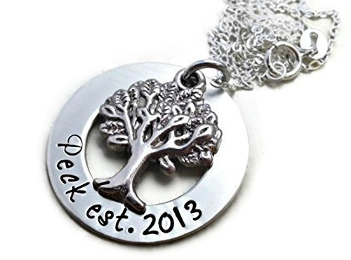 Established Family Tree Sterling Silver Mom Necklace - Hand Stamped Jewelry - Personalized -