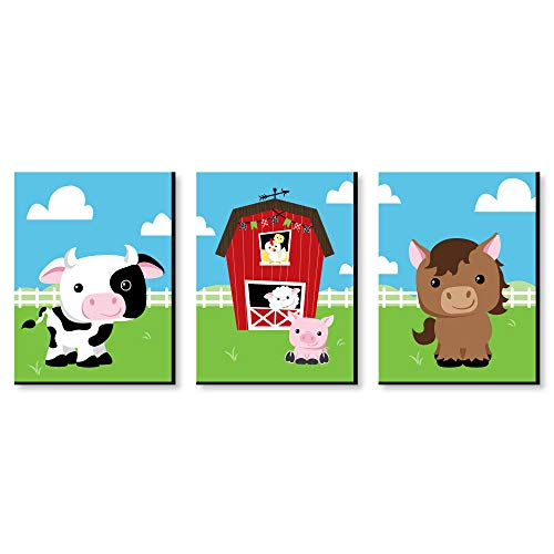 Farm Animals - Barnyard Nursery Wall Art and Kids Room Decorations - 7.5 x 10 inches - Set of 3 Prints - Farm Animal Wall