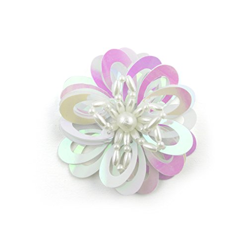 No.19 White with Pink Sequins Beads Sheen Flower Sew-In Trims - Embellishments for Clothing, Accessories - Pack of 5 by HAND