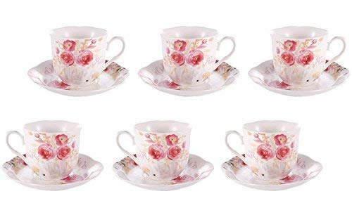 Porcelain Espresso Cup and Saucer Set of 6 Floral New Bone China Coffee Cup Set 2.8 OZ Porcelain Cups