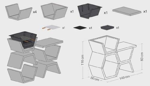Barbacoa de Obra máximo diseño y calidad, De hormigón bruto hidrófugo blanco y negro 149 x 50 x 116 cm. (Ancho x Fondo x Alto).: Amazon.es: Jardín