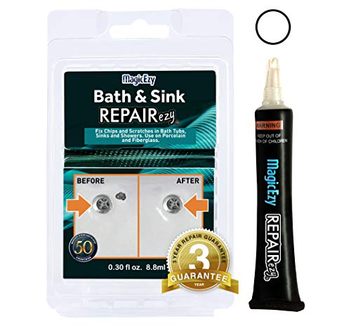 MagicEzy Bath and Sink REPAIRezy (White): Bathtub Repair Kit - Fix Chips and Scratches in Baths, Showers, Sinks - Ceramic, Porcelain, Fiberglass, Enamel.