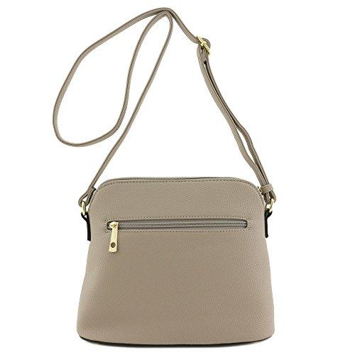 Khaki Zipper Tassel Pocket Crossbody Bag fnIAq
