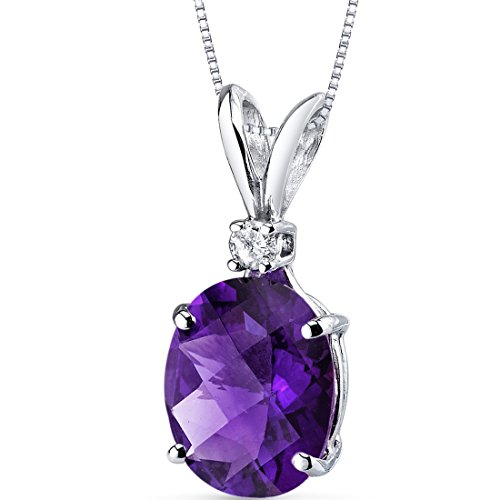 14 Karat White Gold Oval Shape 2.00 Carats Amethyst Diamond (Amethyst Pendant Jewelry)