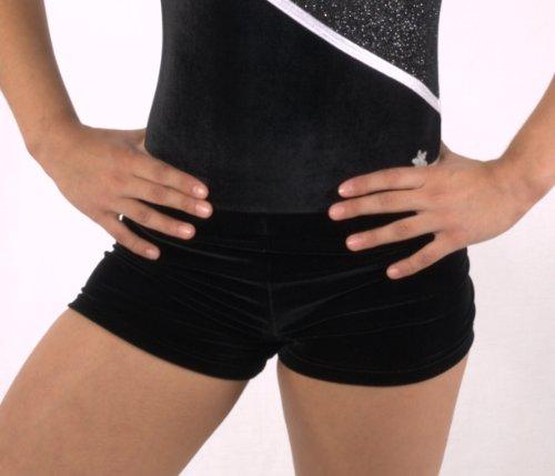 Snowflake Designs Black Velvet Gymnastics or Dance Velvet Shorty Shorts (Adult Small)