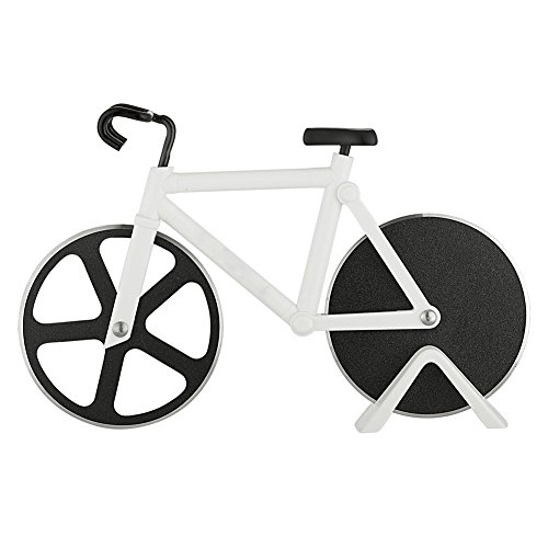 Pizza Cutter - Bicycle Pizza Cutter Wheel Pizza Slicer Sharp Dual Stainless Steel Bike Wheels with a Display Stand by Yuxing (White) (Gifts For A Cooking Enthusiast)