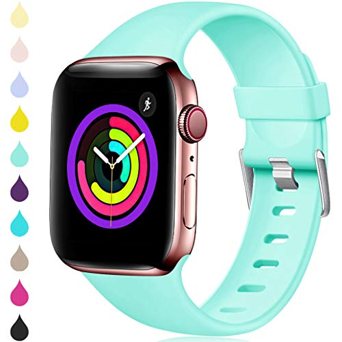 Haveda Sport Band Compatible for Apple Watch 38mm 40mm, Waterproof TPU Bands Wristband for iWatch, Apple Watch Series 4, Series 3, Series 2, Series 1 Women Men, Mint Green 42mm/44mm M/L