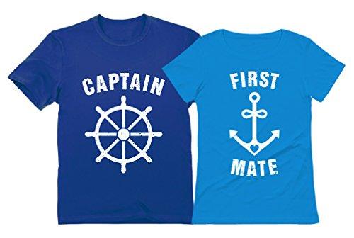 - Funny Captain & First Mate Nautical Sailing Matching T-Shirts Set Couples Gift Captain Blue Large/First Mate Aqua Medium