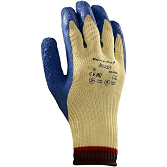 Ansell 206409 Size 8 PowerFlex Plus Heavy Duty Cut Resistant Blue Natural Rubber Latex Palm Coated Work Gloves With DuPont Kevlar Liner And Knit Wrist (1/PR)