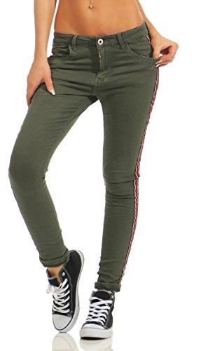 Fashion4Young - Jeans - Femme Turquoise turquoise M = 40 Kaki