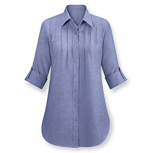 Womens Chambray Pintuck Button Tunic