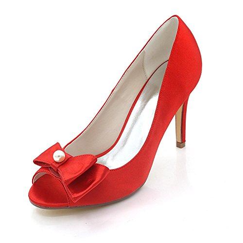 L@YC Damen Hochzeit Schuhe Frühling Herbst Satin & Abend Hochzeit Strass Perle Glitter Red