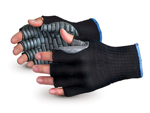 Superior S10VIBHF Vibrastop Nylon Anti Vibration Half Finger String Knit Glove with Anti-Vibe Chloroprene Coated Palm, Work, 7 Gauge Thickness, Small, Black (Pack of 1 Pair)