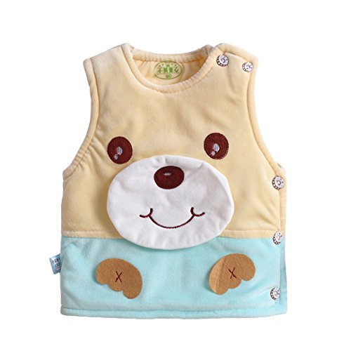 Cotton Velvet Vest (Multifit Baby Soft Velvet Warm Vest Toddler Cute Bear Side Opening Thick Waistcoat Vest(Medium))