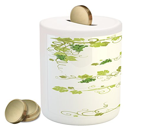 Vine Piggy Bank by Lunarable, Vineyard Design with Healthy Green Leaves Grapes Branches Environment, Printed Ceramic Coin Bank Money Box for Cash Saving, Forest Green Olive Green Vine Designs Bar
