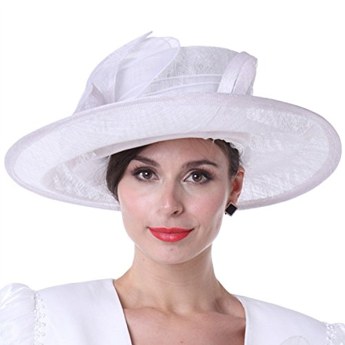 (KUEENI Women Church Hats Outwear Outfits Hat White Wide)