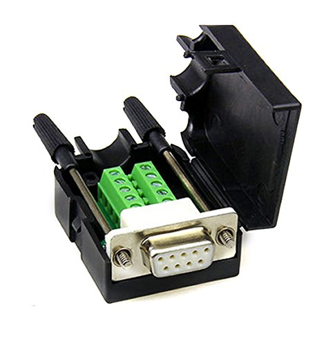 - DB9 D-SUB RS232 Adapter 9 Pin signals Terminal Breakout Plastic Cover 2 Row (Female with screw)