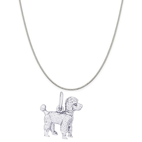 Rembrandt Charms 14K White Gold Poodle Charm on a 14K White Gold Box Chain Necklace, 20