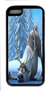 Frozen iphone 4/4s iphone 4/4s Case with thin Flexible Plastic Black- a cute reindeer design